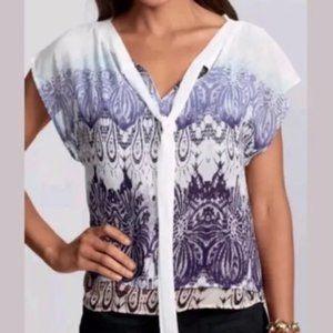 CAbi #238 tie neck blouse double layer print large